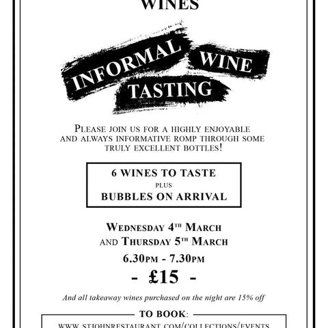 Informal Wine Tasting, Thursday 5th March